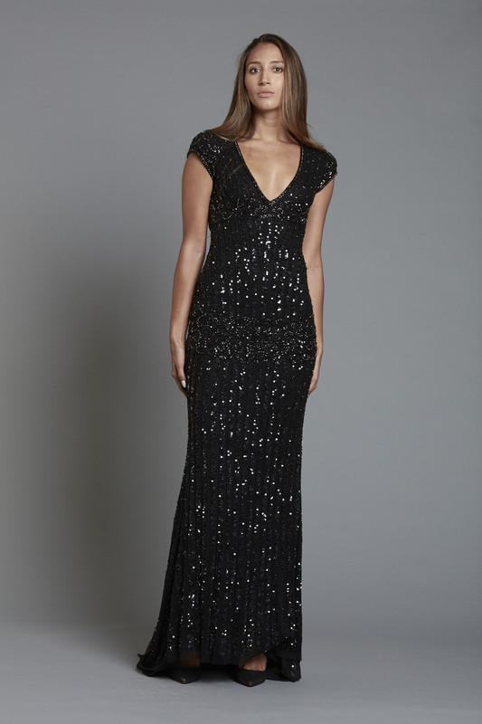V Neck Cap Sleeve Sequin Dress (SKU181)