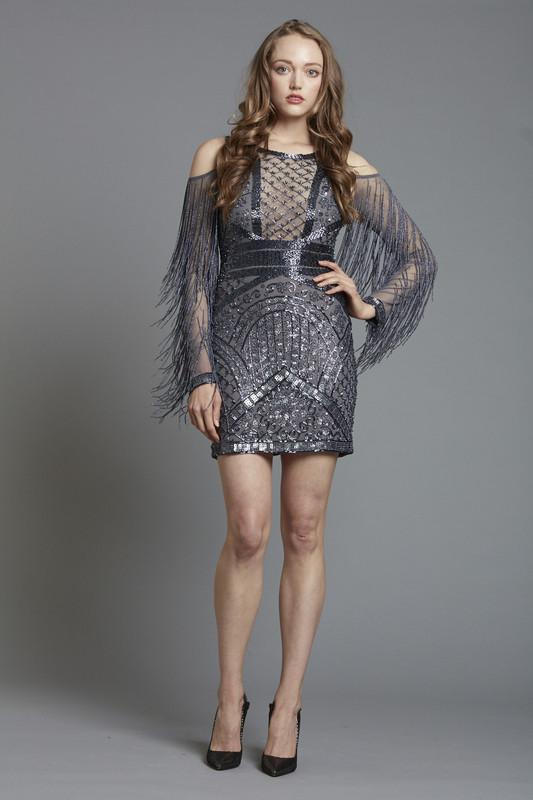 Illusion Front Beaded Short Dress (SKU188)