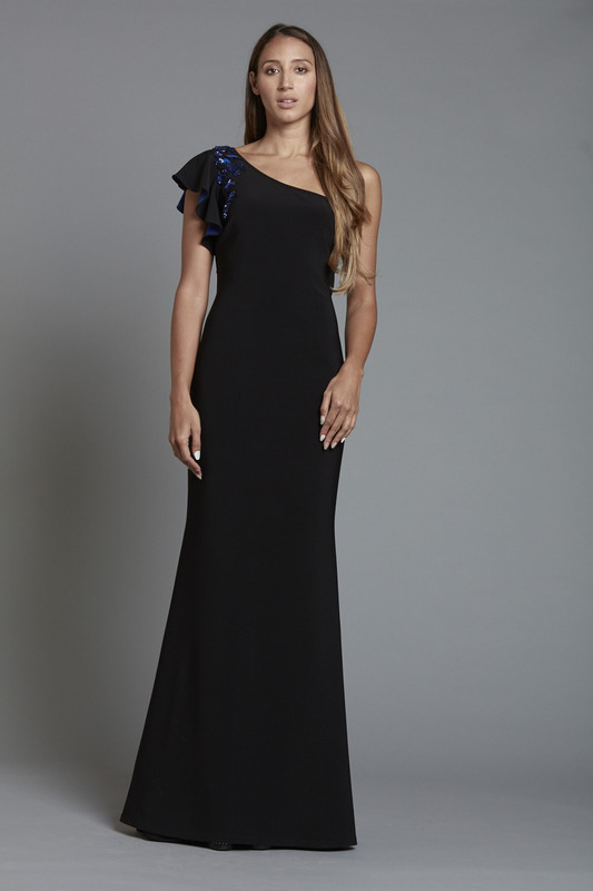 One Shoulder Floral Beaded Gown with Illusion Back (SKU1887)