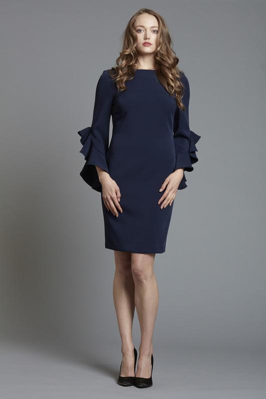 Ruffle Sleeve Crepe Cocktail Dress (SKU1868)
