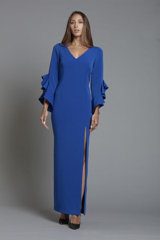 V Neck Ruffle Sleeve Crepe Gown (SKU1870)