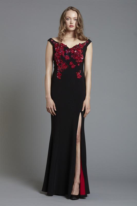 Floral Sequin Embellished Crepe Off Shoulder Gown with Front Slit (SKU1888)