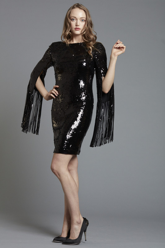 Sequined Cocktail with Fringed Sleeve Detail (SKU1863)