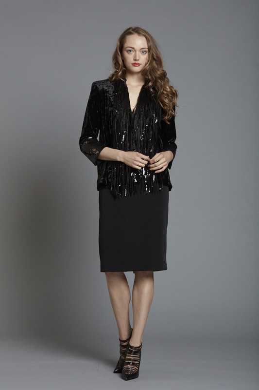 Velvet T Length Sleeve Jacket with Fringed Sequin Shawl Collar (SKU2677)