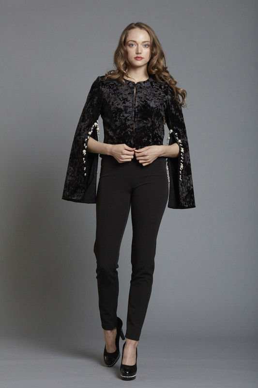 Split Sleeve Velvet Jacket Pearl Trim (SKU1846)