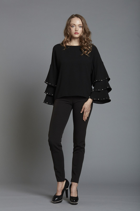 Drop Shoulder Tiered Sleeve Blouse with Pearl Trim - BLACK (SKU1860)