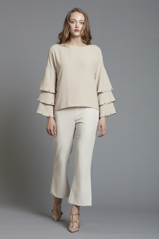 Drop Shoulder Tiered Sleeve Blouse with Pearl Trim - TAUPE (SKU1860)