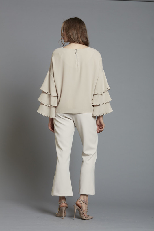 db42e8cad54 ... Drop Shoulder Tiered Sleeve Blouse with Pearl Trim - TAUPE (SKU1860)