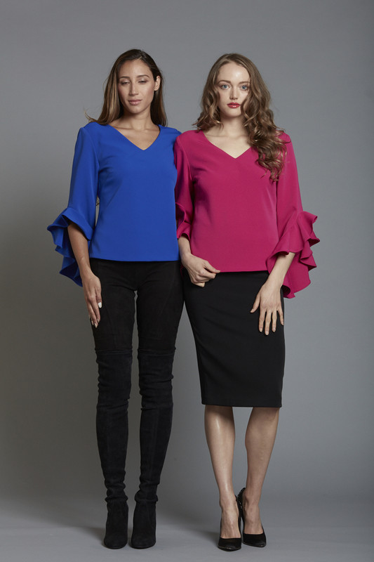 V Neck Stretch Crepe Top with Ruffle Sleeve (SKU1866)