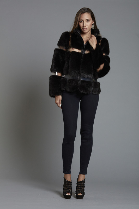 Faux Fur Funnel Jacket with Clear Vinyl Insets (SKU508)