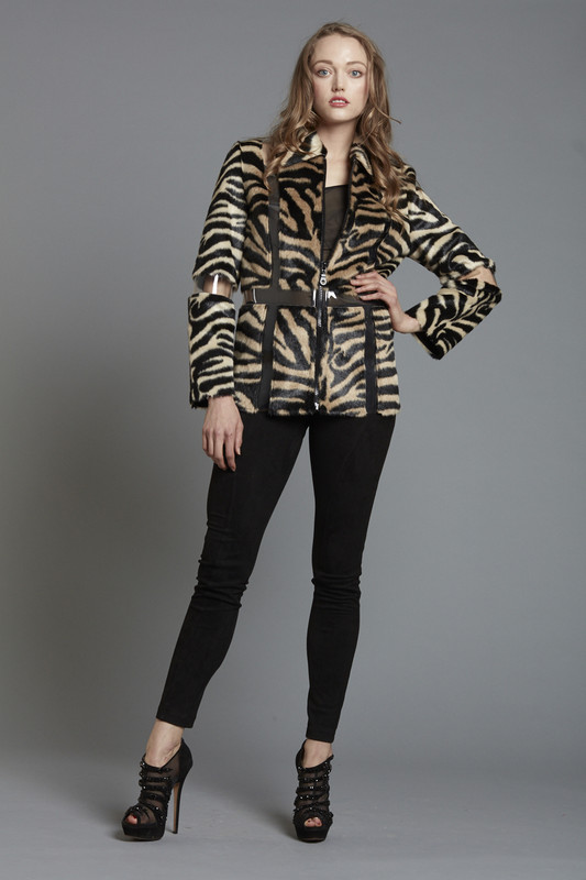 Dyed Zebra Faux Jacket with Vinyl Illusion Insets (SKU509)