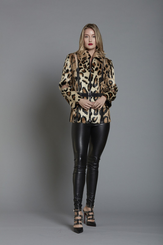 Faux Leopard Fur Zip Front Jacket with Vinyl Illusion Insets (SKU510)