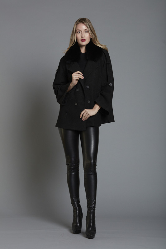 Fur Trim Double Breasted P Jacket - BLACK (SKU587)
