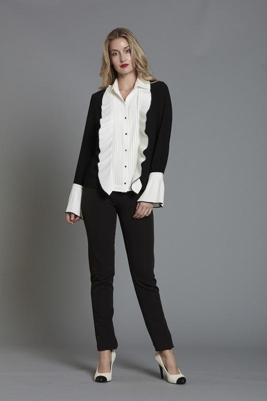 White Tuxedo  Blouse (SKU265)