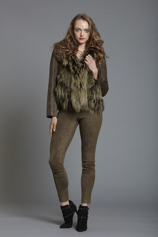 Textured Suede Jacket with Dyed Fox Vest Detail (SKU529)