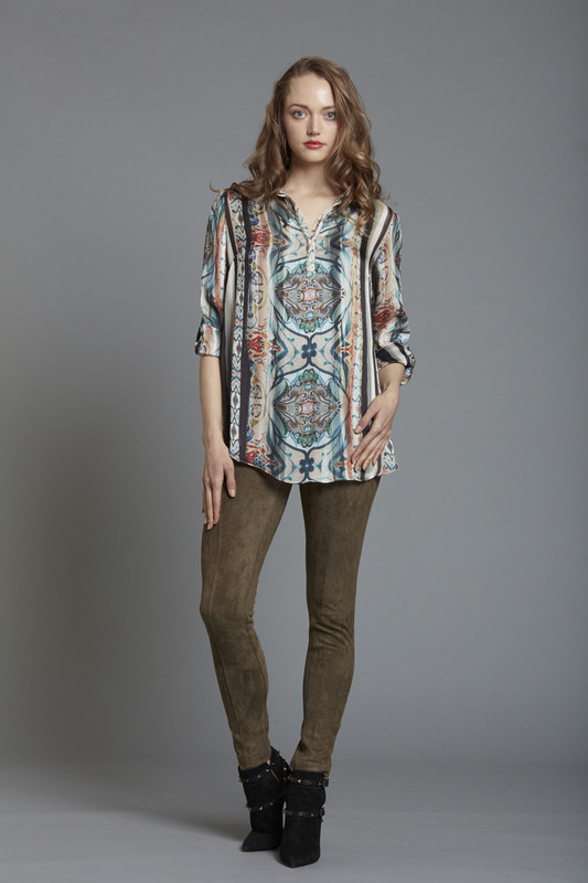Printed Tunic Top with Rolled Cuff Detail (SKU26171)