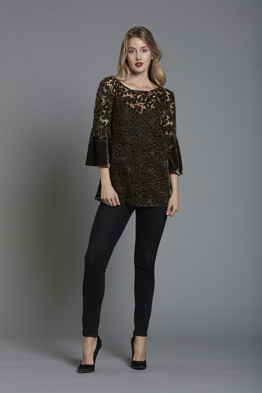 Laser-cut Lace Velvet Tunic with Flutter Sleeve and Camisole Underpinning (SKU26167)