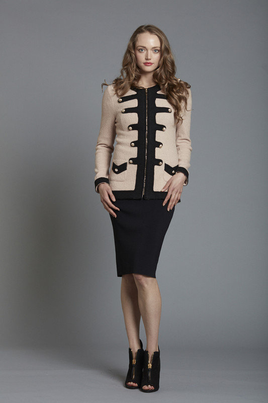 Boiled Wool Military Jacket with Gold Button Detail - ROSE (SKU2617)