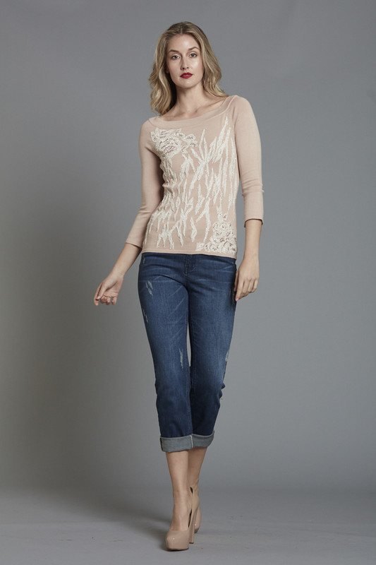 Geo Floral Embroidered Sweater (SKU2639)