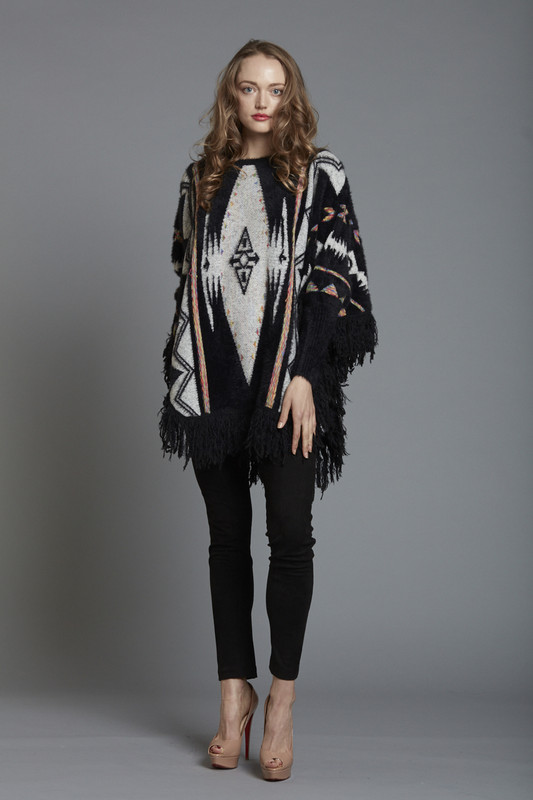Aztec Knitted Poncho with Fringed Trim - Black (SKU26132)