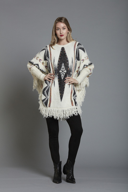 Aztec Knitted Poncho with Fringed Trim (SKU26132)