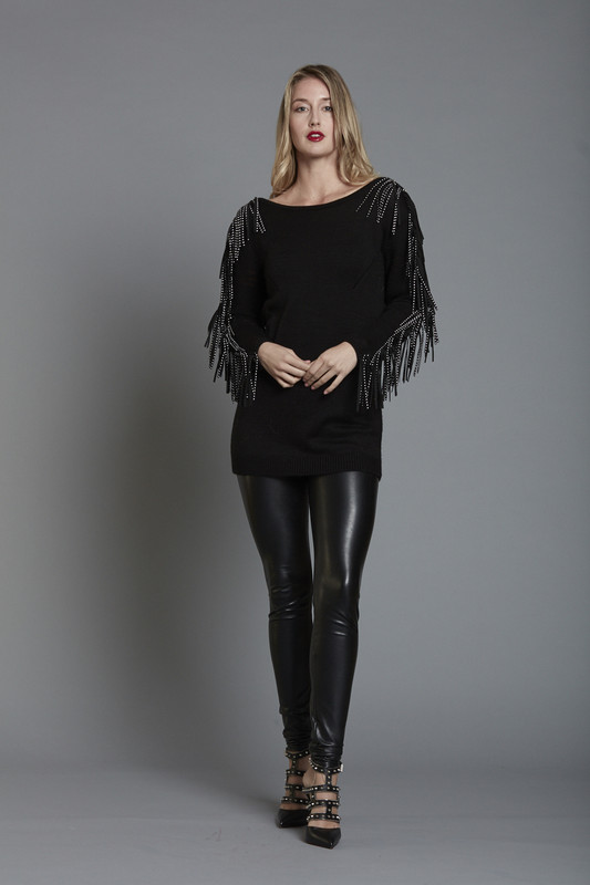 Tunic Knit with Low Scoop Back and Suede Fringe Trim (SKU2630)