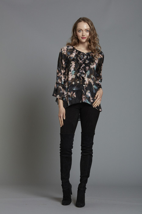 Floral Ruffle Front Tunic