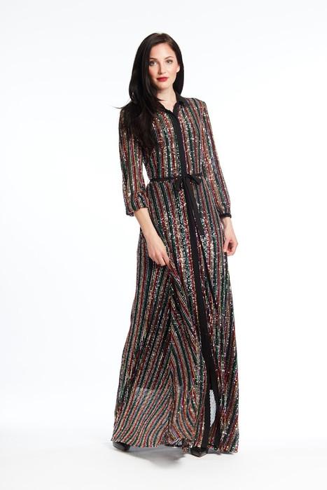 Sequined Long Shirt Dress