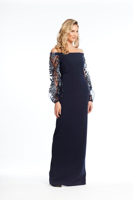 Mesh Beaded Long Sleeve Gown