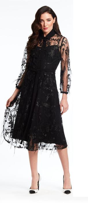 Lace Feather Shirt Dress
