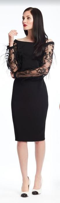 Feather Lace Off Shoulder Short Dress