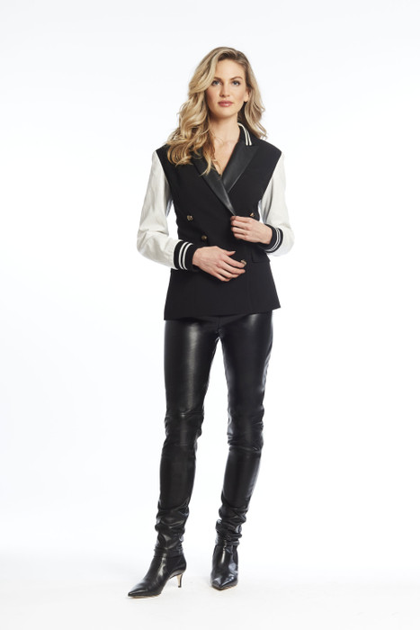 DB crepe and pleather blazer with banded sleeve