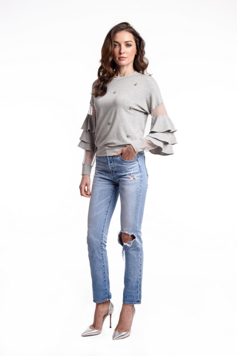 Rhinestone Spattered Top with Ruffle Sleeve