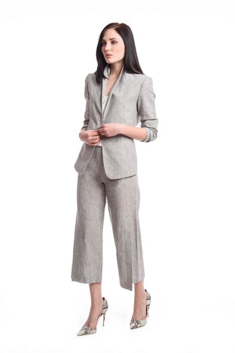 Linen Ruche Sleeve Cardigan Blazer