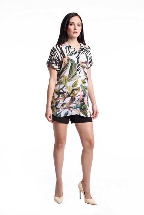 Animal/Floral Print Short Sleeve Blouse