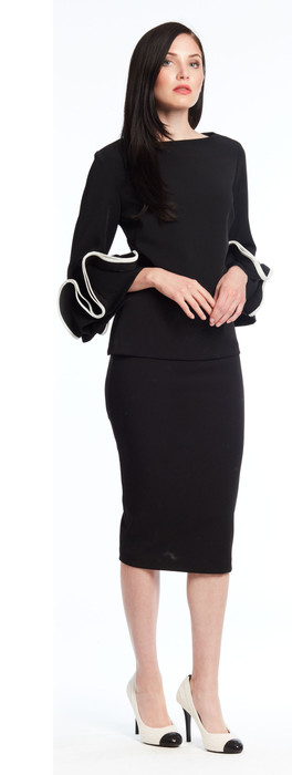 Crepe top with placed ruffle on bell