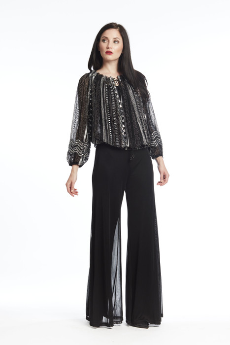 Sequined/Beaded Peasant Top