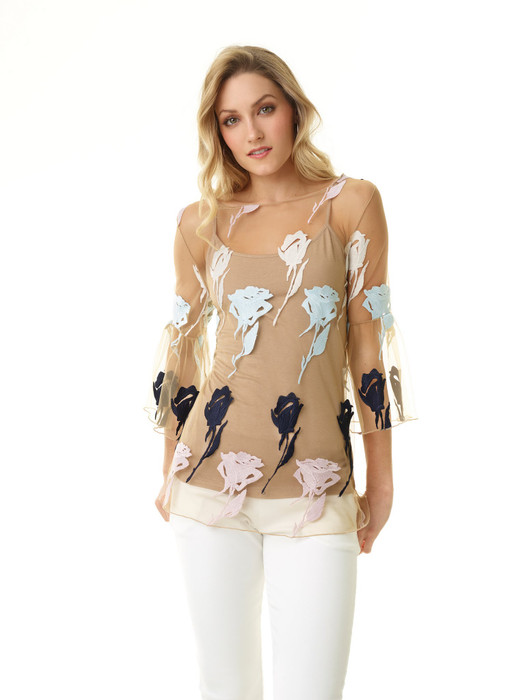 Two Piece Rose Embroidered Mesh Top