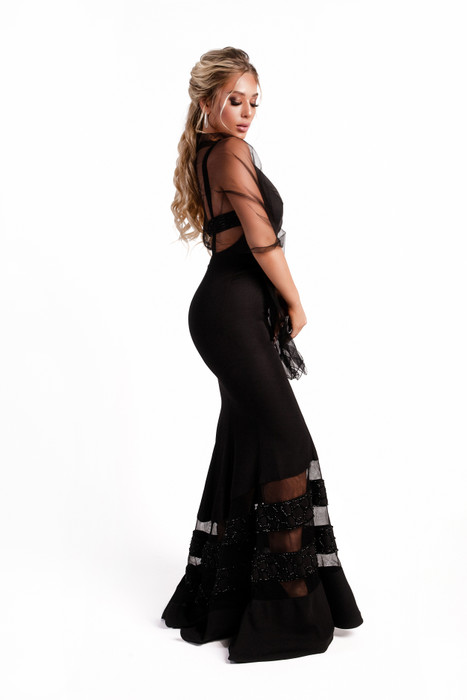 Deep V-neck Long beaded dress