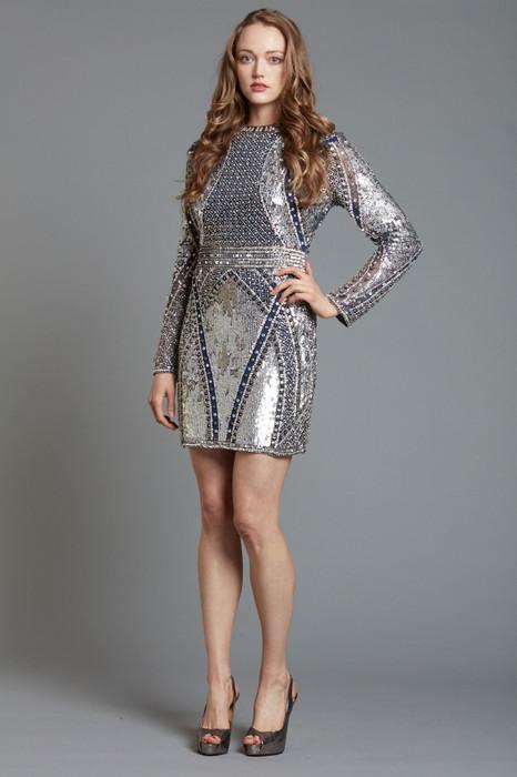 Hand-beaded long-sleeves dress