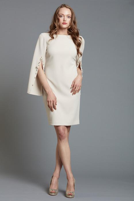 Split Sleeve Dress with Pearl Embellishment