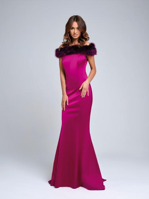 Magenta Faux Fur Gown