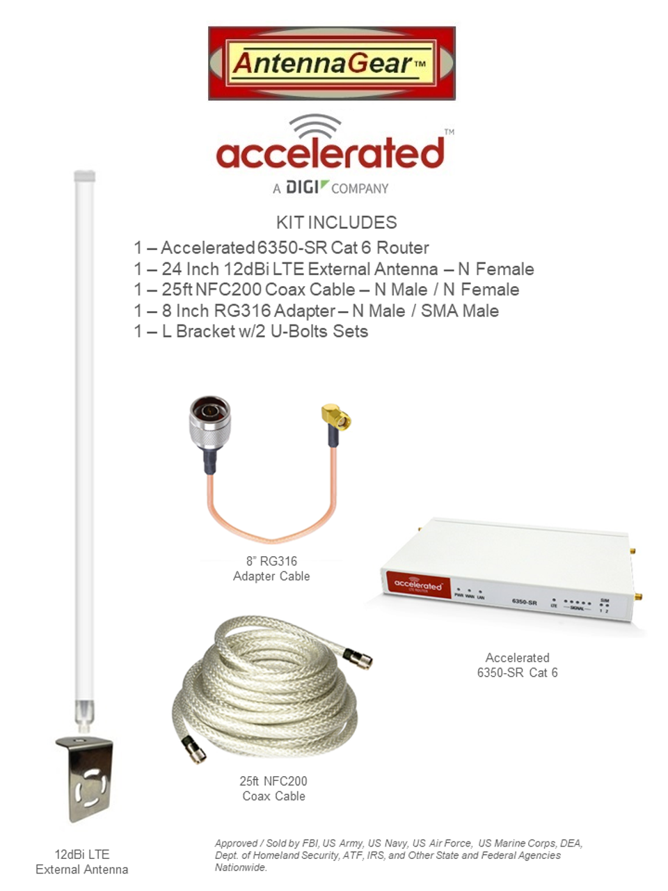 Accelerated 6350-SR LTE Router CAT 6 w/ 12dBi LTE Antenna, 25 FT Cable + Adapter - SMA Male