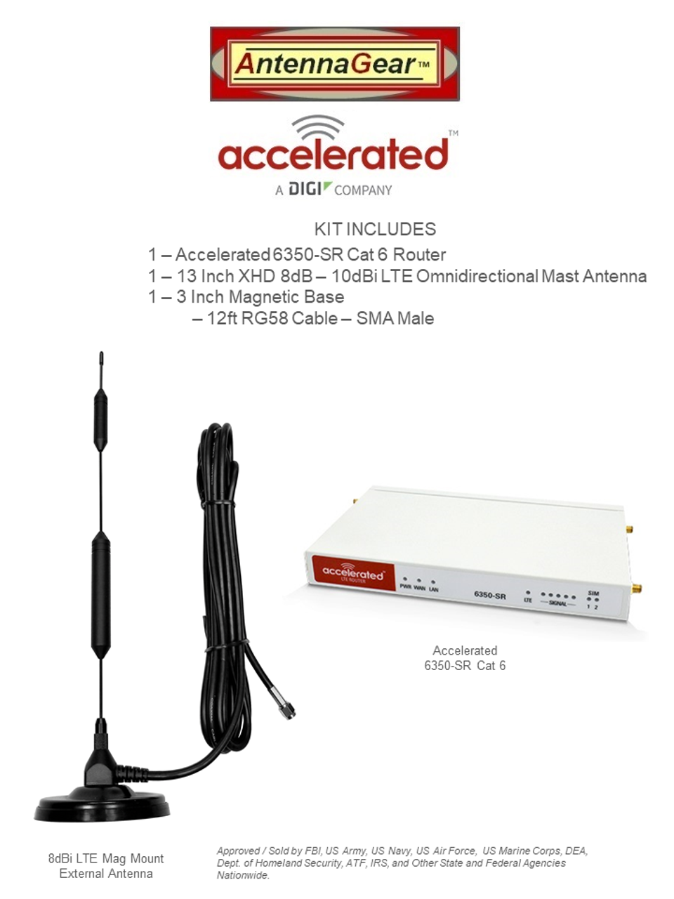 """Accelerated 6350-SR LTE Router CAT 6 w/ 13""""- XHD 8dBi Military Grade 3G 4G 5G LTE Magnetic Mount Antenna - SMA Male"""