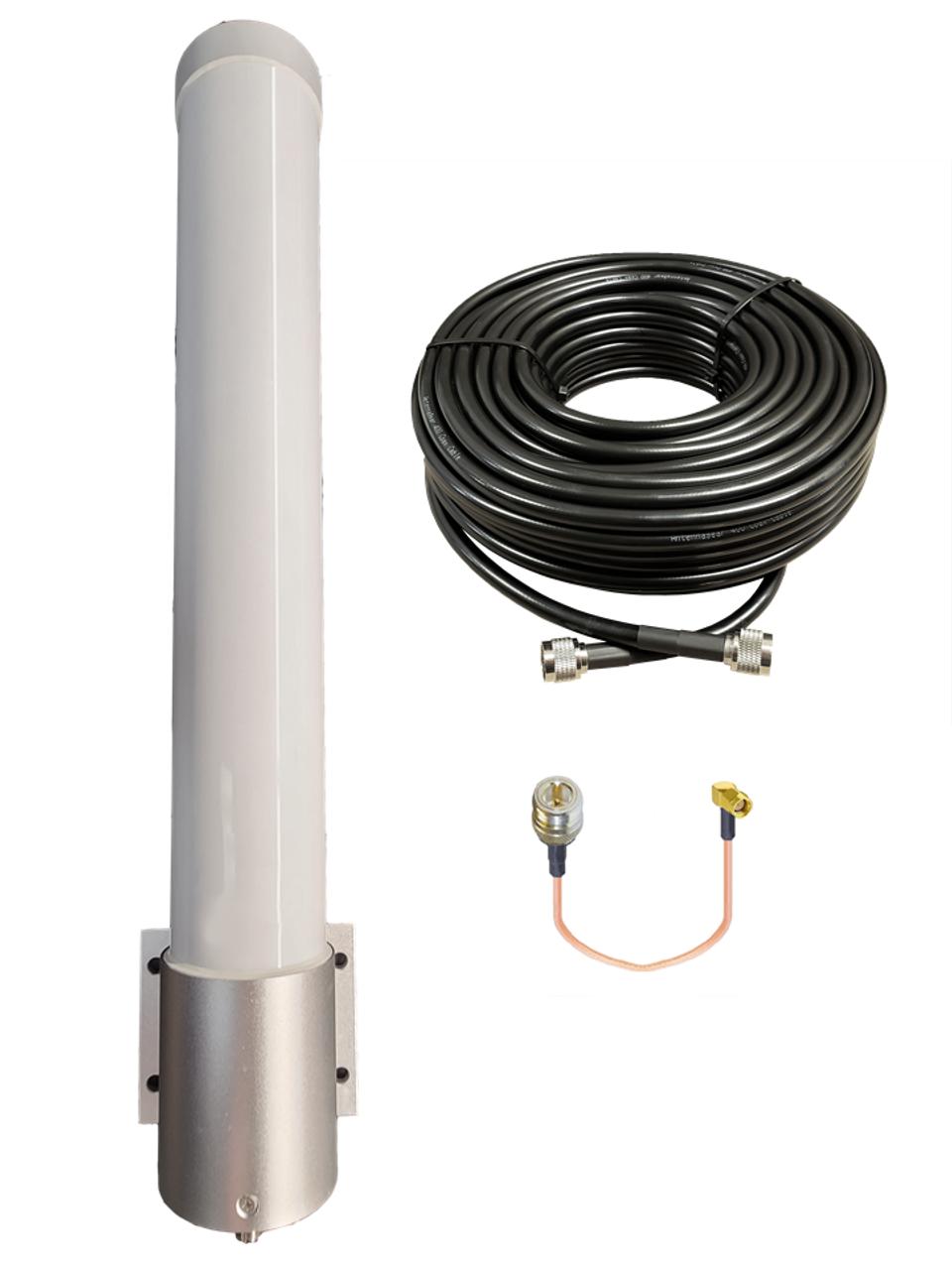 M25T T-Mobile Omni Directional Fiberglass Cellular 4G LTE 5G NR Band 71 External Data M2M IoT Antenna - NF - Kit