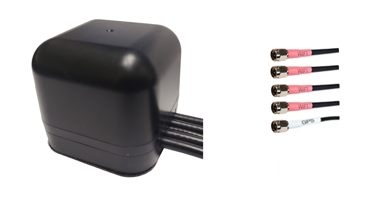 M450M Low Profile Series 5-Lead Mobility Multi MIMO 4 x Dual Band WiFi / GPS GNSS Magnetic Mount Antenna w/15ft Coax Cables