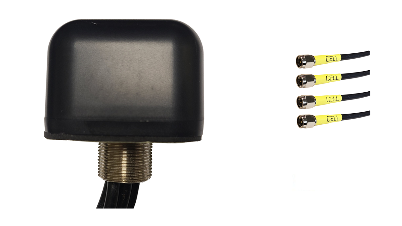 M440B Low Profile Series 4-Lead Mobility Multi MIMO 4 x Cellular 4G LTE CBRS 5G Bolt Mount Antenna w/15ft Coax Cables