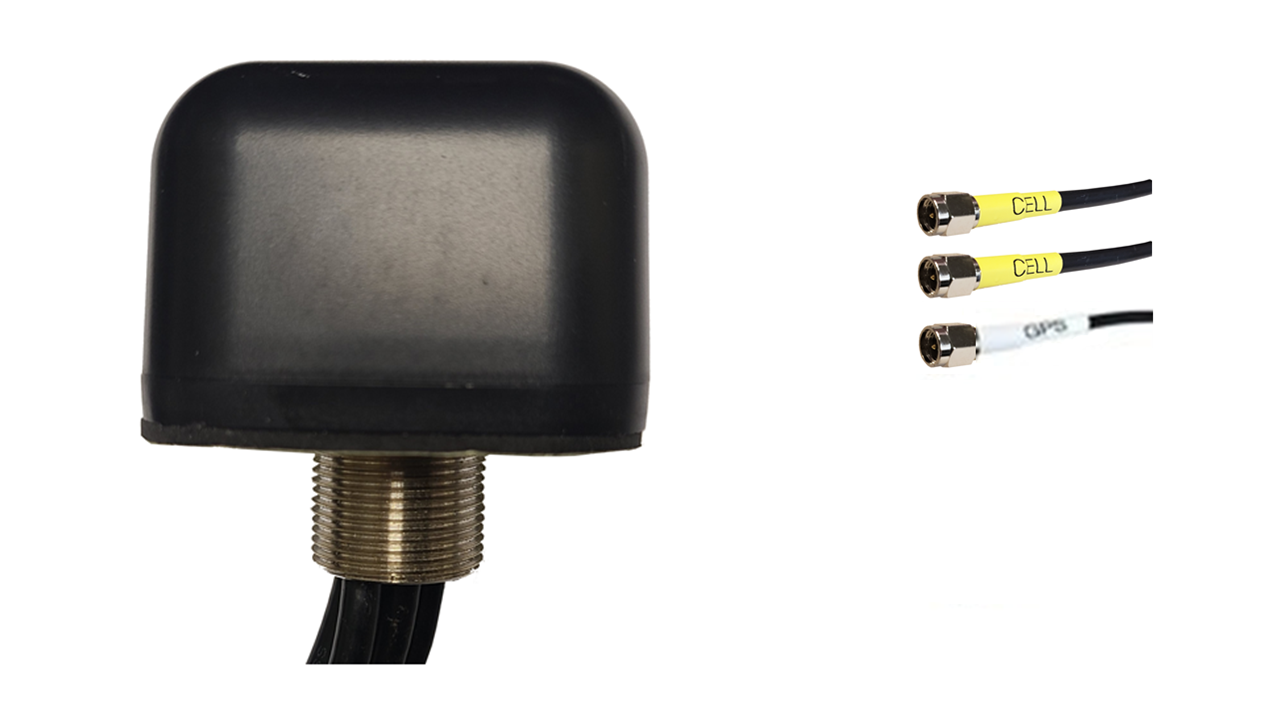 M430B Low Profile Series 3-Lead Mobility MIMO 2 x Cellular 4G LTE CBRS 5G / GPS GNSS Bolt Mount Antenna w/15ft Coax Cables