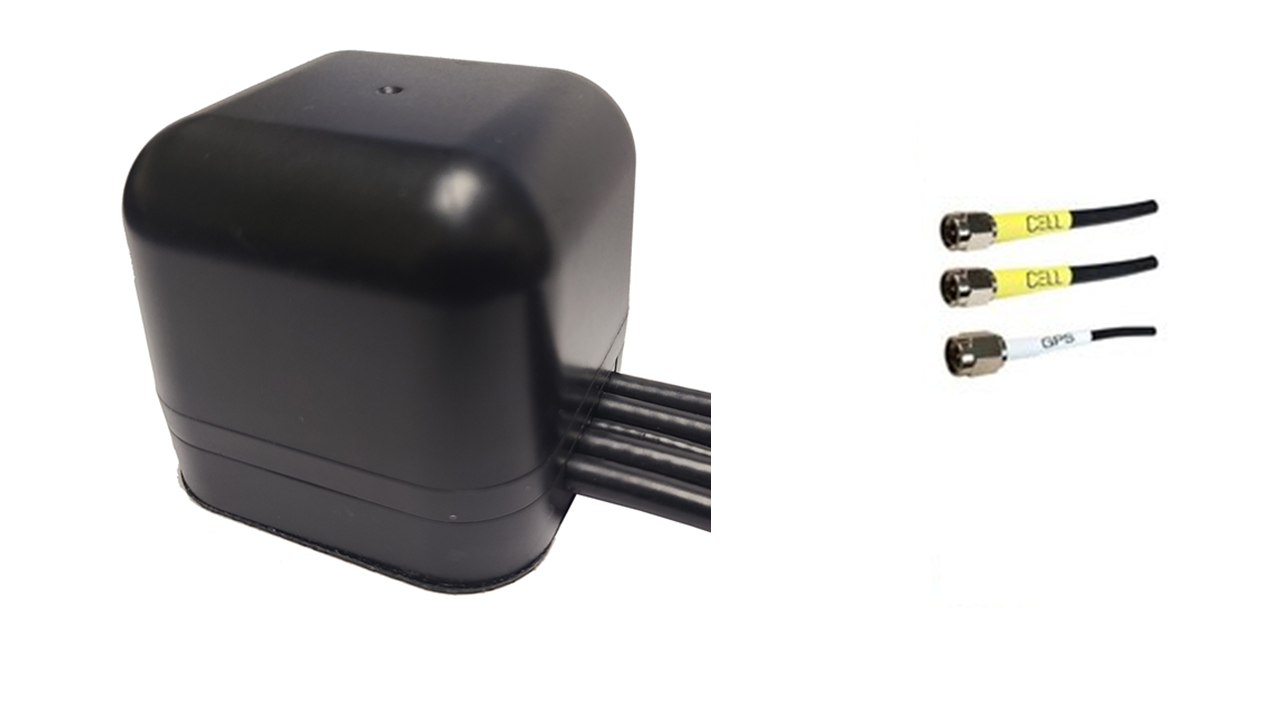 M430M Low Profile Series 3-Lead Mobility MIMO 2 x Cellular 4G LTE CBRS 5G / GPS GNSS Magnetic Mount Antenna w/15ft Coax Cables