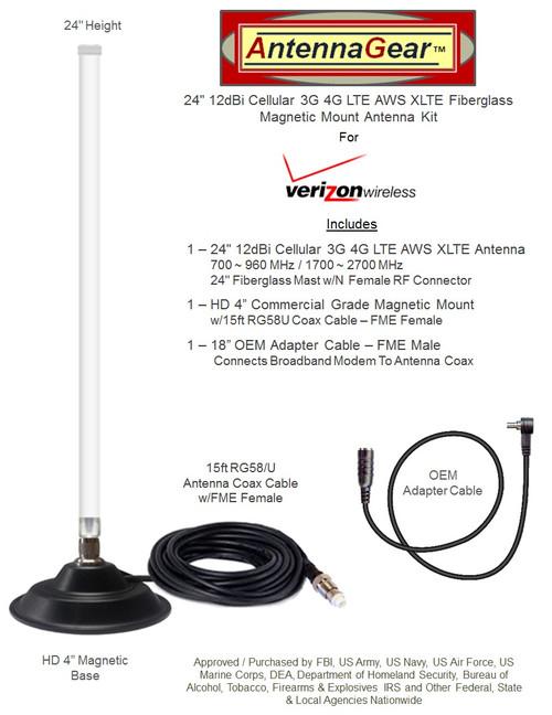 12dB Fiberglass  4G 5G LTE Mag Mount Antenna For Verizon Novatel 551L